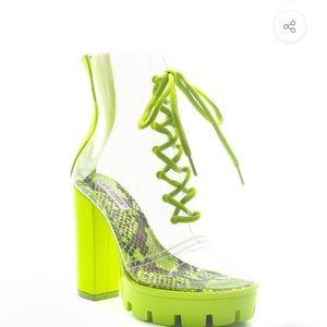 Brooklyn Transparent Clear Block Heel Boot